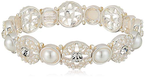 Napier Women's Pearl and Crystal Stretch Bracelet, White Tone ()