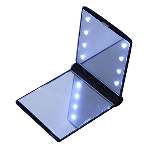 Pocket Makeup Mirror With LED Light (Black) - 8