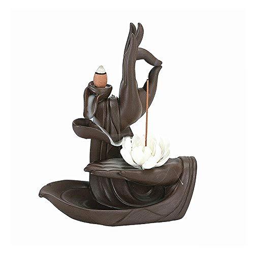 SiQing China Aromatherapy Table Ceramic Purple Sand Zen Buddha Hand Sandalwood Backflow Incense Burner Lucky Decor Relax (Lotus)