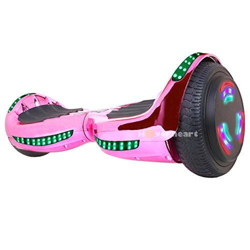 Hoverboard UL 2272 Certified Flash Wheel 6.5″ Bluetooth Speaker with LED Light Self Balancing Wheel Electric Scooter (Chrome Pink)