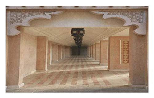 Lunarable Arabian Doormat, Arabian Style Artistic Aisle in Madinat Jumeirah Islam Historic Interior Design Art, Decorative Polyester Floor Mat Non-Skid Backing, 30 W X 18 L inches, Sand Brown by Lunarable