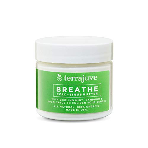 Breathe Natural Cold and Sinus Relief Butter with Cooling Mint, Camphor &Eucalyptus to Eliven Your Senses. All Natural Organic Made in USA (2.0 Oz)