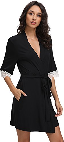 GYS Women's Bamboo Short Robes, Small/Medium, Black