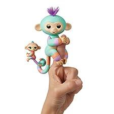WowWee Fingerlings Baby Monkey & Mini BFFs Danny and Gianna (Orange), Turquoise