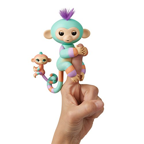 WowWee Fingerlings Baby Monkey & Mini BFFs Danny and Gianna (Orange), Turquoise