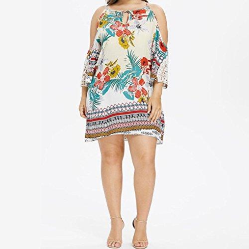 Janly Floral Print Kleid für Frau Übergroße Kalte Schulter Kleider ...