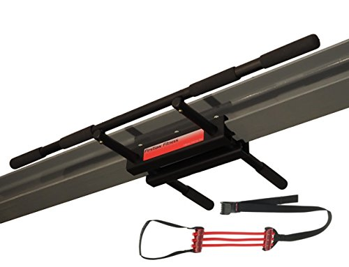 Firstlaw Fitness - 600 LBS Weight Limit - I-Beam Pull Up Bar - Straight Long Bar - WITH Pull Up Assist - Durable Rubber Grips - Red Label - Made in the USA! by Firstlaw Fitness