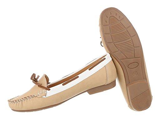 Hochwertige Damen Mokassins | Loafers Slipper | Leder-Optik Flats | Profilsohle Schleife Slip on | Segelboot Schuhe | Rutschfeste Sohle | Schuhcity24 Apricot