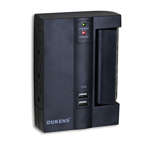 Dukens 6 Outlets Surge Protected Current Tap With 2 USB Ports 3Outlet Swivel - Black