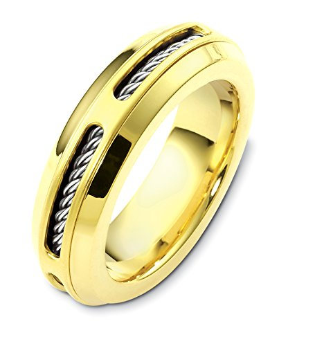 Mens 18K Two-Tone Gold, Cable Twist 7MM Wedding Band (sz 14) ()