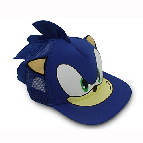 Sonic The Hedgehog Game Cosplay Baseball Hat Cap Ears Summer Sun Blue -