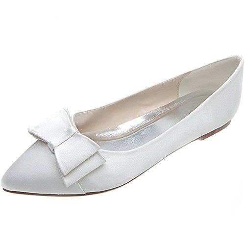 Uerescha Women's Elegant Pionted Toe Wedding Ballet Flats Dress Shoes White-C9.5 B(M) US