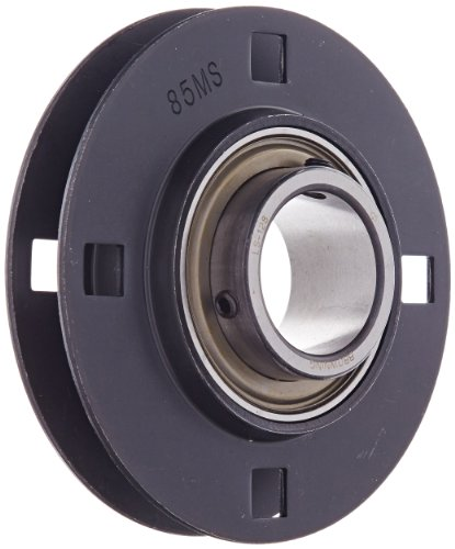 Browning SSF4S-128 Light-Duty Flange Unit, 4 Bolt, Setscrew Lock, Non-Relubricatable, Contact and Flinger Seal, Stamped Steel, Inch, 1-3/4