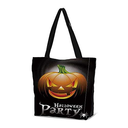 (Halloween Stylish Canvas Tote Bag,Halloween Party Theme Scary Pumpkin on)