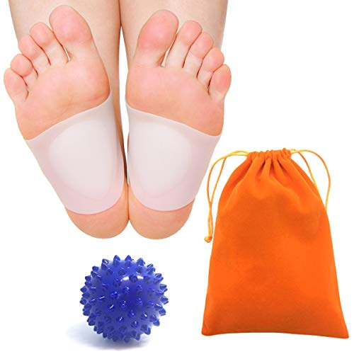 Price comparison product image Foot Massage Ball + Gel Arch Support Kits,  Foot-Spiky Massage Ball Stimulate Deep Tissu & Plantar Fasciitis,  Silicone Flat Foot Plantar Fasciitis Cushion for Pain Relief