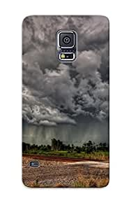 Case For Galaxy S5 Hard Phone Case Cover(railroadsigncrossing Train Sky Storm Rainclouds ) For Thanksgiving Day's Gift
