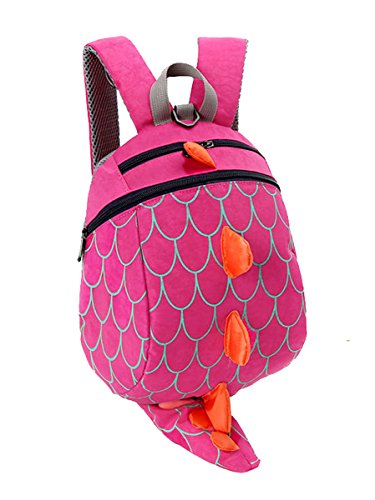 Unisex Child School bag Dinosaur Backpack Lovely Anti-lost Miniature Storage bags (Rose red) Baby Dinosaur Miniature