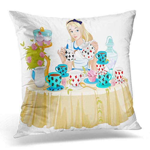 Emvency Throw Pillow Cover Wonderland Alice Pours Cup of Tea from The Kettle Decorative Pillow Case Home Decor Square 18
