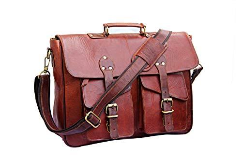 mPelle 16 inch Vintage Leather Real Goat Leather Messenger Bag for Mens Laptop Briefcase Satchel Crossbody Shoulder Bag (Genuine Goat)