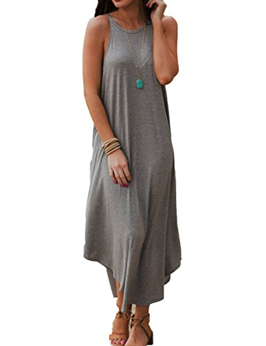 (Halife Women Summer Boho Halter Sleeveless Long Maxi Casual Loose Beach Dress Gray,XL)