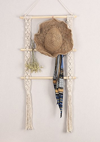 "RISEON Boho Rustic Wood Macrame Floating Hanging Wall Display Shelf Organizer Hanger - Showcase your style with this rustic-chic floating shelves. Decorative and functional. Product dimensions: 39""L x 19.6""W Material: Made of cotton cord and beech wood - wall-shelves, living-room-furniture, living-room - 41jFmM3rblL -"