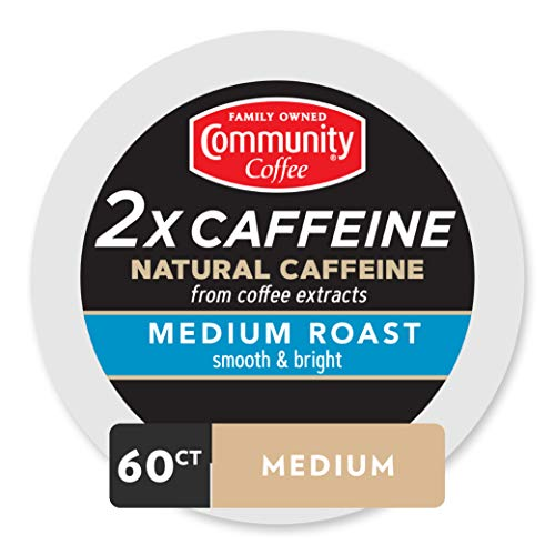 Community Coffee - 2X Caffeine Medium Roast 60 Count (6 Packs of 10) Single Serve Coffee Pods, Compatible with Keurig 2.0 K Cup Brewers
