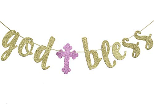 God Bless Banner, Baptism Garland Sign Gold Glitter for First Communion Christening Party Decorations Photo Props -