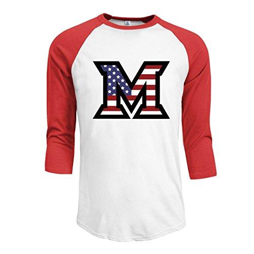 - Men's Miami U M American Flag 3/4 Sleeve Raglan baseball Tee M Red
