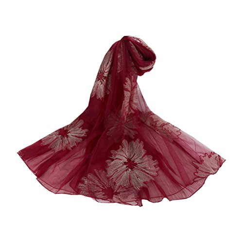 Lujuny Luxury Embroidery Gauze Kerchief - Autumn Fashion Flower Sheer Silk Scarf Warp for Women Girls (Wine Red) (Sheer Linen Silk)