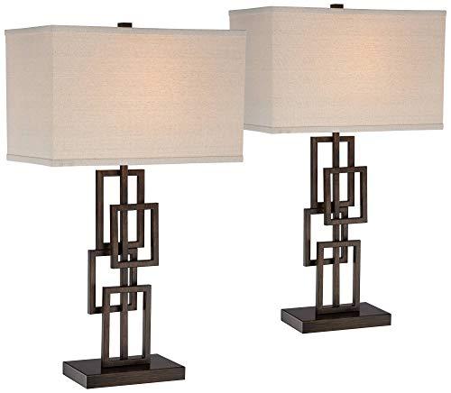 (Kory Modern Table Lamps Set of 2 Dark Bronze Metal Geometric Base Rectangular Shade for Living Room Family Bedroom Office - 360 Lighting)
