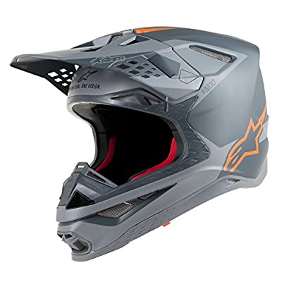 Supertech S-M10 Meta Off-Road Motocross Helmet (2 XL, Anthracite Gray Orange Fluo): Automotive