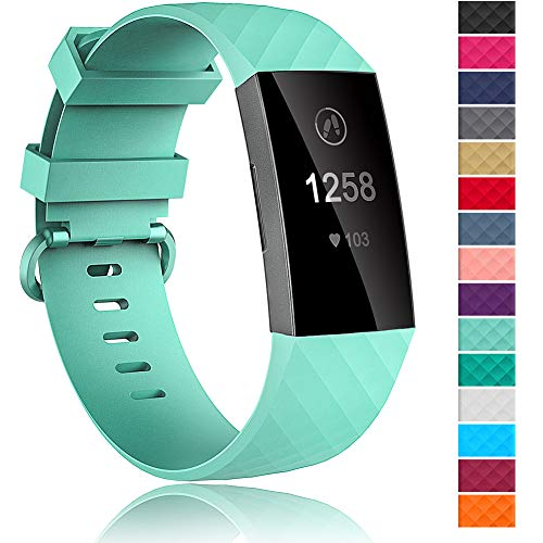 Velavior 15 Colors Bands for Fitbit Charge 3 / Charge3 SE, Waterproof Replacement Wristbands for Women Men Small Large (Aquamarine, Small)