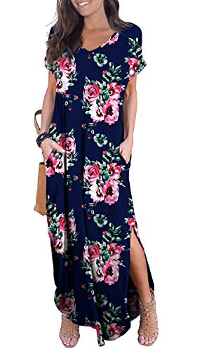GRECERELLE Women's Casual Loose Long Dress Short Sleeve Floral Print Maxi Dresses with Pockets Navy Blue-M