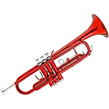Kaizer Trumpet Bb B Flat Red Includes Travel Case Mouthpiece and Accessories TRP-1000RD