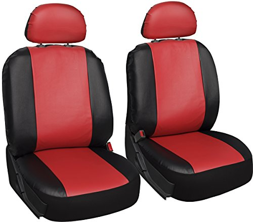 Oxgord Leatherette Bucket Seat Cover Set for CarTruckVanSUV, Airbag , Red Black
