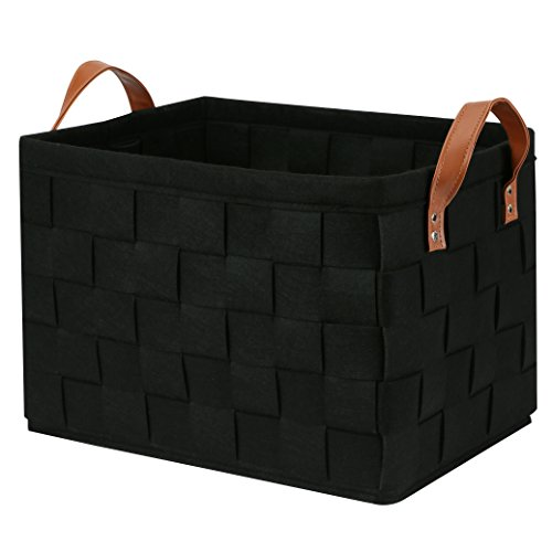 Collapsible Storage Basket Bins, Foldable Handmade Rectangular Felt Fabric Storage Box Cubes Containers with Handles- Large Organizer For Nursery Toys,Kids Room,Towels,Clothes, Black (16