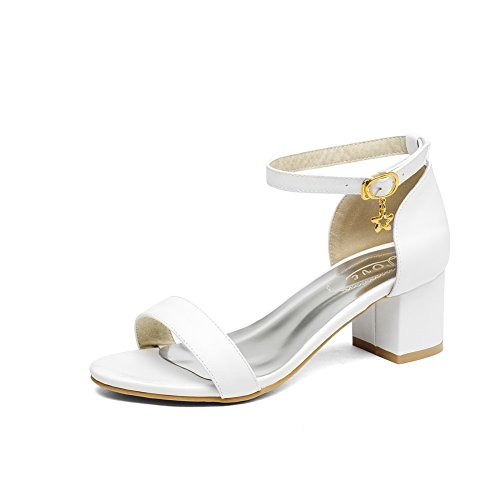 AllhqFashion Women's Solid Pu Kitten Heels Open Toe Buckle Sandals with Charms White