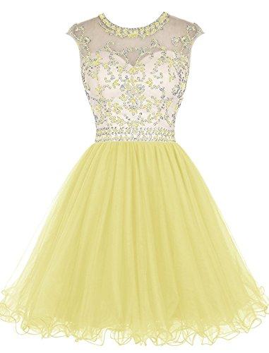Kurz Kleides Homecoming Lang Schwarz Fanciest Ball Women' Beaded Sleeve Yellow Cap Abendkleider Ballkleid wqnwITaS