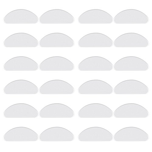 Eyeglass Nose Pads, LOKMAN 12 Pairs 1 mm Anti-Slip Adhesive Nose Pads Clear Silicone Eyeglass Pads for Eyeglass Sunglasses, Ultra Soft (Transparent)