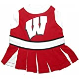 Pets First NCAA University of Wisconsin Badgers Cheerleader Dog Outfit - Medium