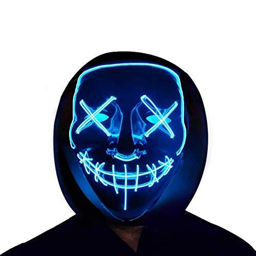 Jupitaz Halloween Mask Men's Costume Masks Cosplay LED Glow Scary Light up Masks