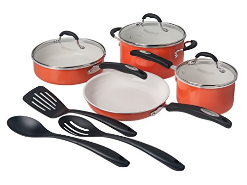 Cuisinart Ceramic Non-Stick Cookware, Orange (Set of 10)