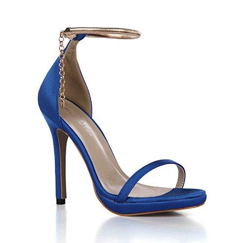 ZHZNVX qui Sandales femme ont satin de soie nouveau B00MY4MVGQ mariage dîner sexy femmes chaussures à bride de la chaîne avec des chaussures qui ont été lattice blue ea51e49 - automatisms.space