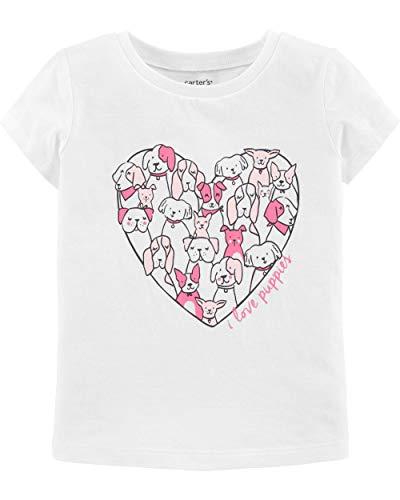 Carter's Girls' Short Sleeve Summer Tees (White/Pink/Puppies, 3T)