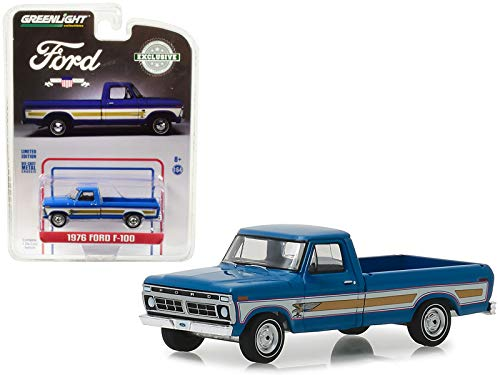 Greenlight 29966 1976 Ford F-100 Pickup Truck Bicentennial Option Group Bahama Blue Hobby Exclusive 1/64 Diecast Model Car, Multi ()