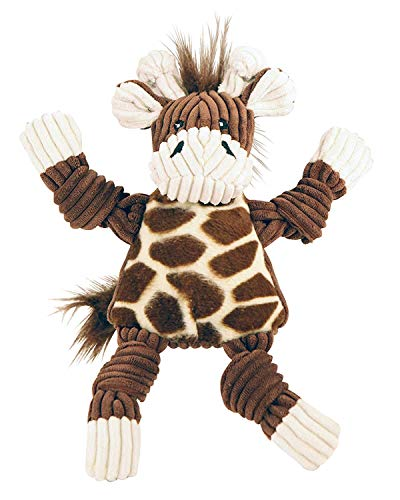 HuggleHounds Plush Corduroy Durable Squeaky Knottie, Dog Toy, Great Dog Toys  for Aggressive Chewers, Giraffe, Small