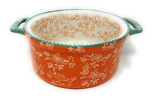 Temp-tations Round 3 Qt Baker w/ Handles 3.0 Quart (Floral Lace Tangerine) 3 Quart Stoneware Baker