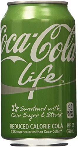Coke Life Reduced Calorie Coca Cola with Stevia 12 Oz Cans - Case of 48