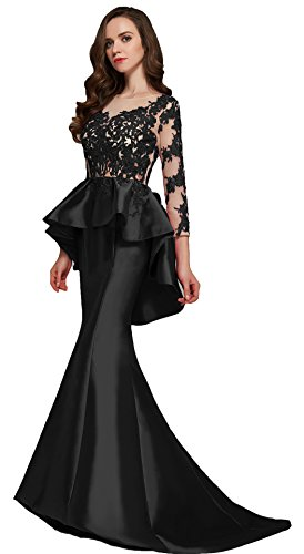 Rongstore Black evening dress with beaded lace peplum XR4701, US 12, ()