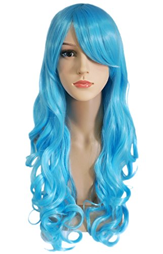 Another Me Wig Women's Long Big Wavy Hair 25 Inches Light Ice Blue Ultra Soft Heat Resistant Fiber Party Cosplay